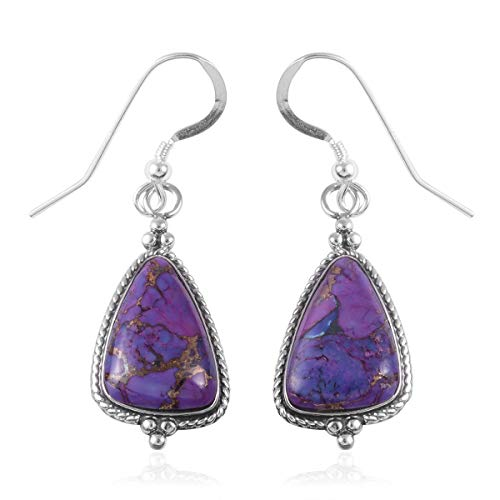 (Dangle Drop Earrings 925 Sterling Silver Purple Turquoise Southwest Jewelry for Women)