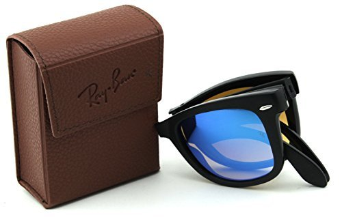 Ray-Ban RB4105 60694O Wayfarer Folding Black Frame / Mirror Gradient Blue Lens - For Sale Rayban Sunglasses