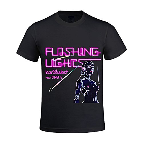 [Kanye West Flashing Lights Men Tee Crew Neck Cool Black] (Traditional Russian Outfits)