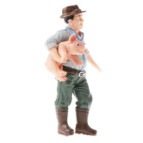 Perfk おもちゃ ファーマーモデル玩具 高品質 テーブル装飾 リアル人物モデル 豚を抱く農夫 人モデルの商品画像