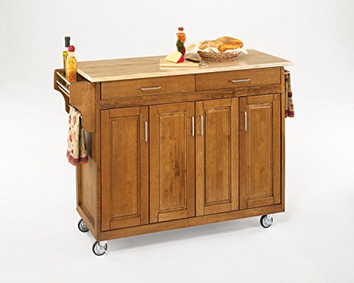 - Create-a-Cart Cottage Oak 4 Door Cabinet Kitchen Cart with Stainless Steel Top by Home Styles