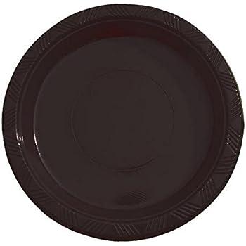 Exquisite 7 Inch. Black Plastic Dessert/Salad Plates - Solid Color Disposable Plates -  sc 1 st  Amazon.com & Amazon.com: Bulk Value 10 Inches Plastic Plates Black Package of 50 ...