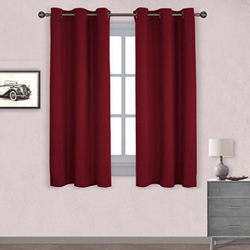 Nicetown Thermal Insulated Solid Grommet Blackout Curtains / Drapes for Livingroom (One Pair,42 by 63-Inch,Burgundy - Turtles Vermeil