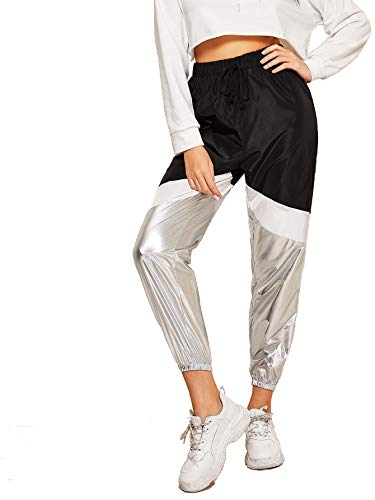 (Romwe Women's Color Block Sweatpants Loose Metallic Workout Jogger Tapered Pants Silver X-Small)