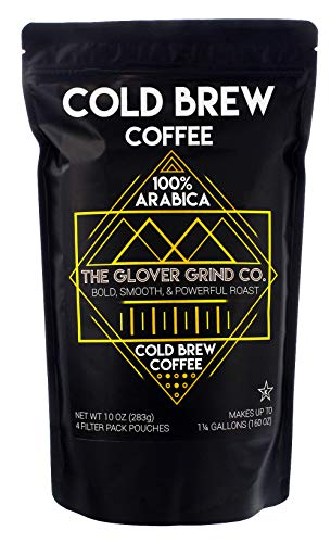 The Glover Grind Co. – 4 Cold Brew Coffee Packs, 100% Arabica Single Origin Colombian Coffee, Kosher, Makes up to 1.25 Gallons, Less Acidic, Smooth, Powerful and Fresh Roast.