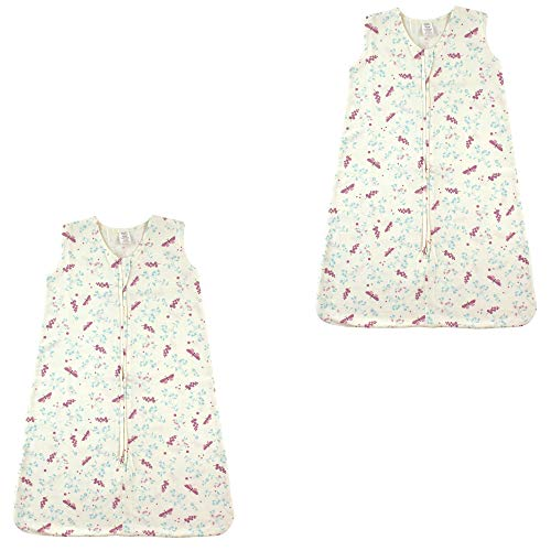 Touched by Nature Baby Organic Cotton Sleeveless Wearable Sleeping Bag, Sack, Blanket, Botanical Flutter 2-Pack, 6-12 Months