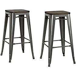 "DHP Fusion Metal Backless Bar Stool with Wood Seat, Set of two, 30"", Grey"