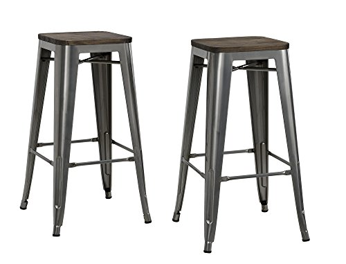 DHP Fusion Metal Backless Bar Stool with Wood Seat, Set of two, 30