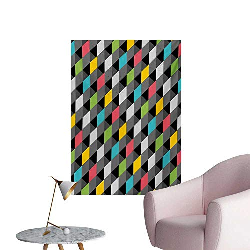 Anzhutwelve Geometric Wall Sticker Decals Abstract Art Style Illustration of Colorful Squares Modern Expression PatternMulticolor W24 xL32 Wall Poster