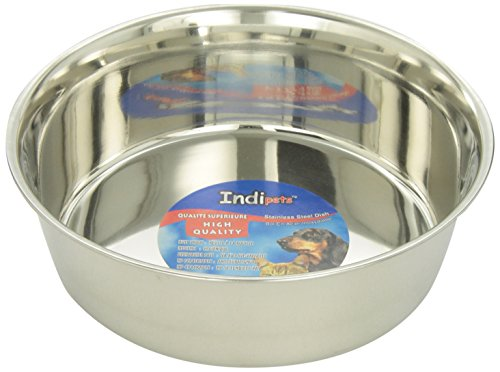 Indipets Stainless Steel Extra Heavy Duty Pet Bowl, 3-Quart ()
