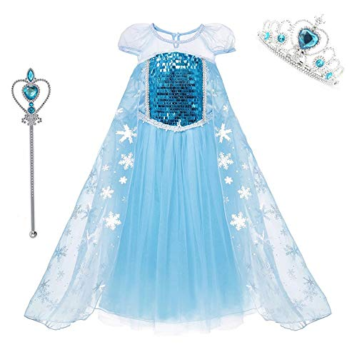 DXYtech Snow Queen Elsa Costumes Princess Dress Up Halloween Chritmas Cosplay Costume Party Outfit with Crown Wand for Girls (Short Sleeve, 130/5T-6T)