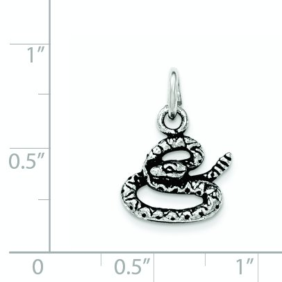 Sterling Silver Antiqued Coiled Snake Pendant ()