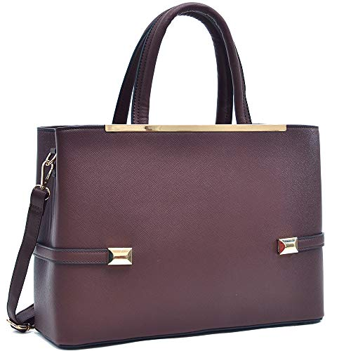 Dasein Frame Tote Top Handle Handbags Satchel Leather Briefcase Shoulder Bags Purses (8895-Coffee)