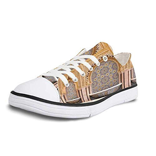 Canvas Sneaker Low Top Shoes,Moroccan Decor,Typical Moroccan Tiled Fountain in The City of Rabat Near The Hassan Tower Women 10/Man 7 (Best Hotels In Rabat)