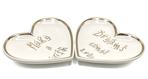 ROSA&ROSE Ring Dish Heart Shaped Ceramic Jewelry Dish Set 2 Trinket Tray with Dreams Comes True and Make a Wish in Gift Box