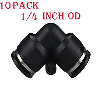 Utah Pneumatic 10 pack Plastic Push To Connect Fittings Tube elbow Connect 1/4 inch od Push Fit Fittings Tube Fittings Push Lock ( 1/4 inch elbow)