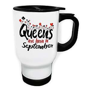 Las reinas nacen en septiembre Taza de viaje térmica de color blanco 14oz 400ml qq73tw