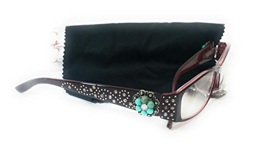 Montana West Concho Reading Eye Glasses Brown Mauve Turquoise (2.25) (Rhinestone Brown Glasses Reading)