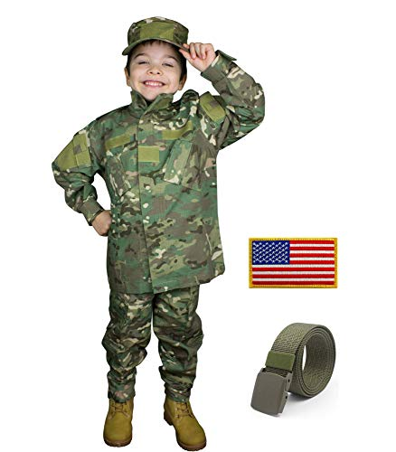 Kids Military Costume Army Uniform Camo Tactical Suit - Cap, Shirt, Pants, Belt, Patch Set - Boys (7-8, -