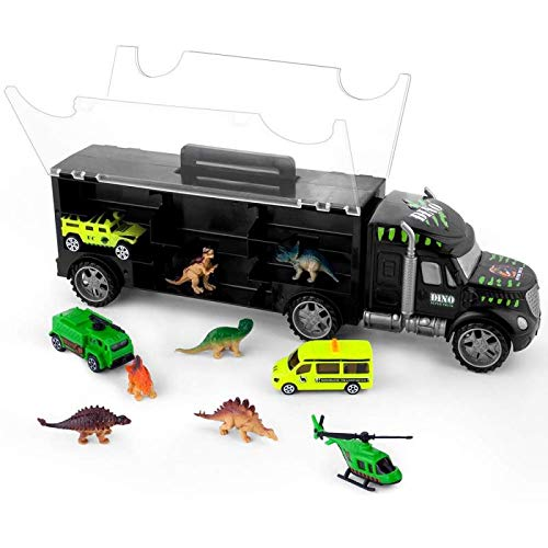 Gifts2U Dinosaur Transport Car Carrier Truck Toy with 6 Dinos 3 Matchbox Cars and 1 Helicopter, Toy Trucks Fits 13 Toy Car Slots Great Dinosaur Toys for Boys and Girls (Trailers Toy Trucks With Matchbox)