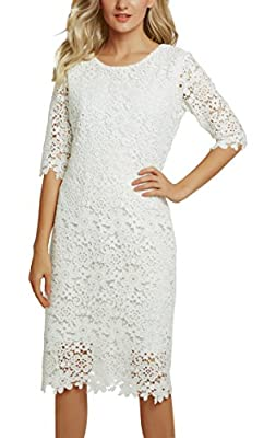 Urban CoCo Women's Lace Sheath Dress Slim Fit Midi Dress