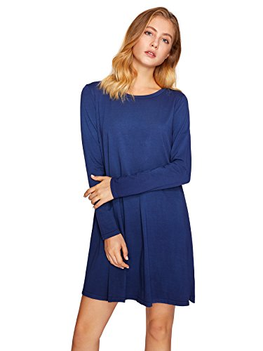 T Dress Sleeve dark Tie Swing Blue Romwe Dye Short Women's 0 Ombre Tunic Dress Shirt 1XqAUtAw