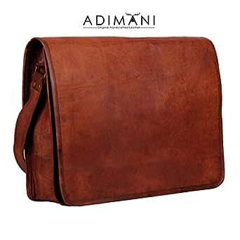 ADIMANI Genuine Leather handmade laptop notebook messenger bag Size 15x11