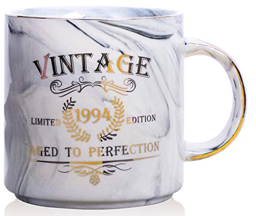- 1994 25th Birthday Gifts for Women and Men Ceramic Mug - Funny Vintage 1994 Aged To Perfection - Anniversary Gift Idea for Him, Her, Mom, Dad Husband or Wife - Ceramic Marble Cups 13 oz (Grey)