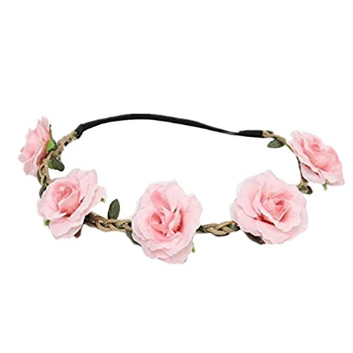 Butterfly Rose Pendant Quartz - Susenstone New Style Floral Flower Party Wedding Hair Wreaths Headband Hair Band (Pink)