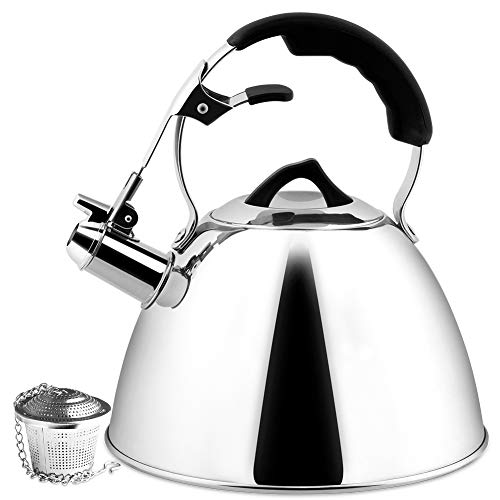 (Secura Tea Kettle 3.2 Quart Tea Pot, Stainless Steel Hot Water Kettle Whistling with Mirror Finish, Silicone Handle, Impact-bonded Technology, Tea Infuser for Stovetops)