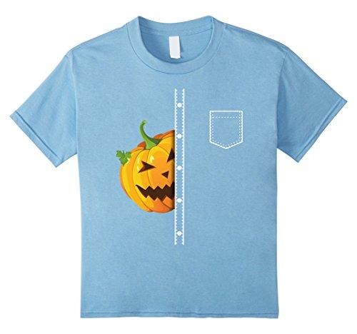 Kids Halloween Lapel Shirt Peeking Pumpking Funny Pocket Tee 8 Baby Blue