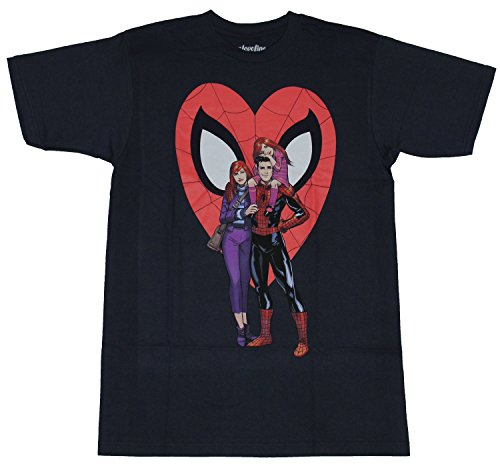 Spider-Man (Marvel Comics) Mens T-Shirt - Spidey, Mary Jane & Child Spidey Heart (Extra Large) Navy Blue