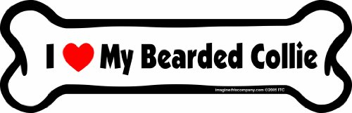 Imagine This Bone Car Magnet, I Love My Bearded Collie, 2-Inch by 7-Inch ()