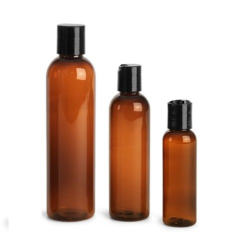 (8 oz Empty Amber Plastic Cosmo Squeeze Bottles with Disc Top Flip Cap (6 pack); BPA-Free Containers For Shampoo, Lotions, Liquid Body Soap, Creams (8 ounce, Amber))