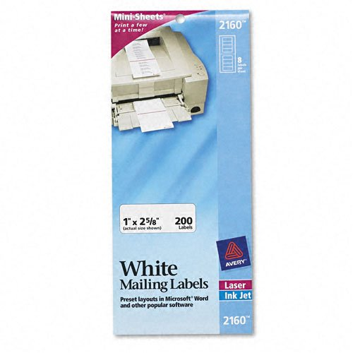 Avery Products - Avery - Laser/Inkjet Mailing Labels, Mini-Sheet, 1 x 2-5/8, White, 200/Pack - Sold As 1 Pack - Ideal for when you need only a few labels rather ()