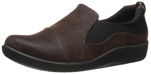 Clarks Women's CloudSteppers Sillian Paz Slip-On Loafer, Dark Brown Synthetic Nubuck, 7 M - Leather Nubuck Shoes