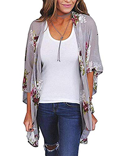 - Traleubie Women Floral Kimono Loose Half Sleeve Shawl Chiffon Casual Cardigan Blouse Color 6 L-XL