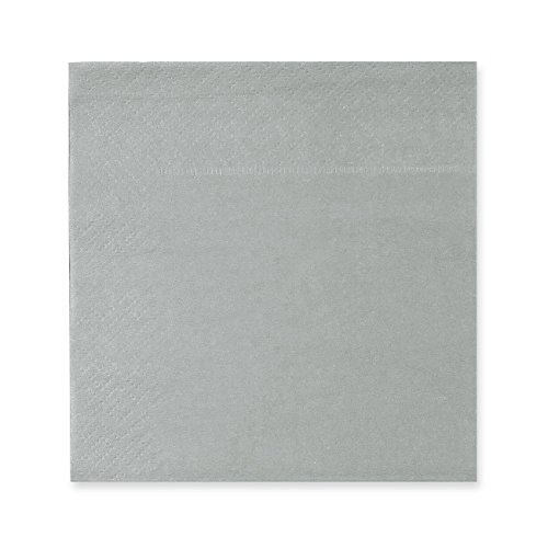 Cocktail Napkins - 200-Pack Disposable Paper Napkins, 2-Ply, Solid Silver, 5 x 5 Inches Folded]()