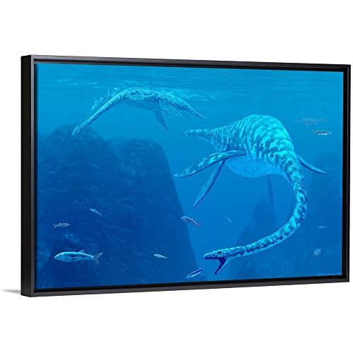 Elasmosaurus Black Floating Frame Canvas Art, 50