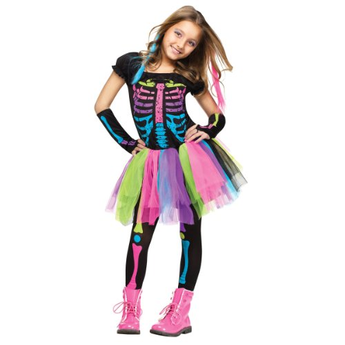 Bones Skeleton Girls Costumes (Fun World Little Girl's Funky Punk Bones Childrens Costume, Multi, Medium)