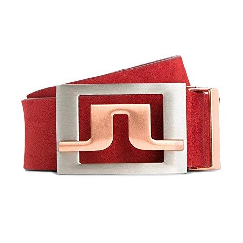 J Lindeberg Slater Belt (J.LINDEBERG Men's Golf Belts (Slater 40 2.0 brushed leather, Red Intense, 32inch (90cm)))