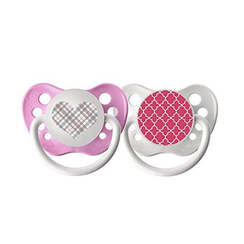 Pacifiers - Ulubulu - Pink Plaid Heart & Pink Moroccan Patte
