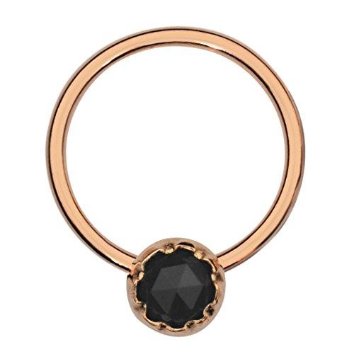 Septum Ring - Conch Piercing - Septum Jewelry - 14K Rose Gold Filled 20G 8mm Hoop 3mm Black Onyx