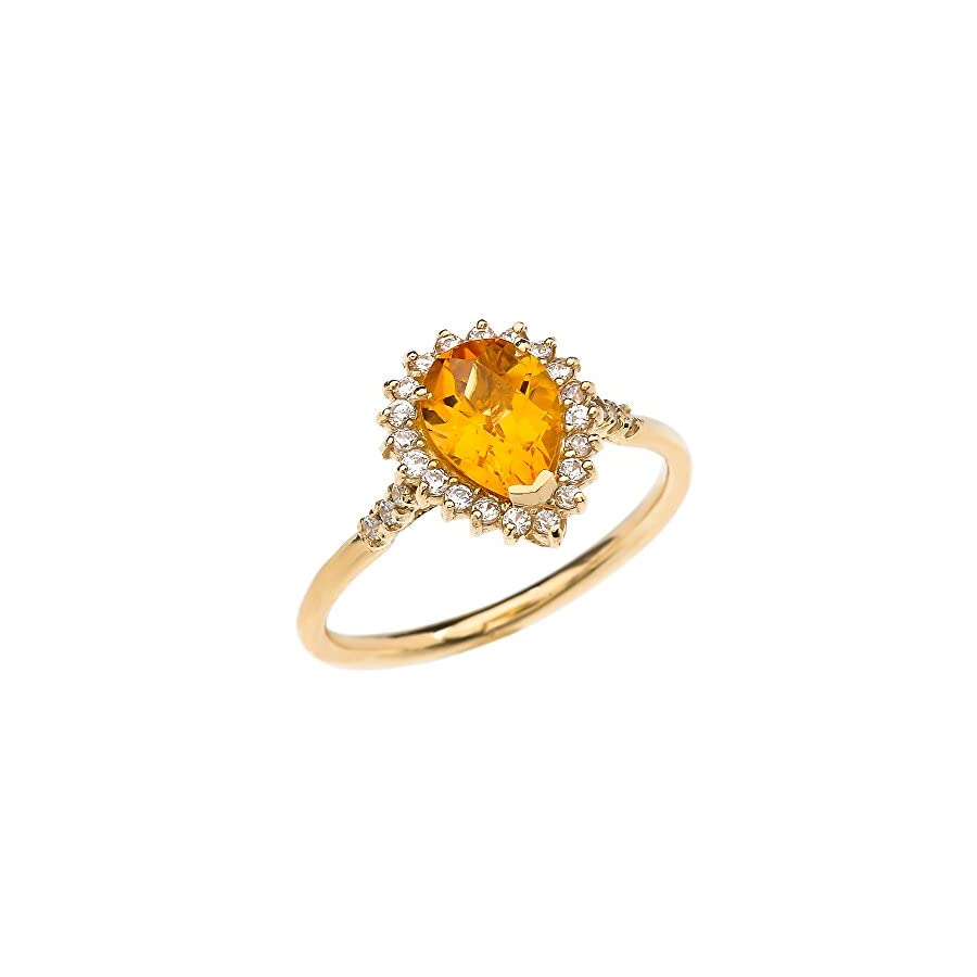 Diamond And Checkerboard Pear Shaped Citrine 14k Yellow Gold Proposal Engagement Ring