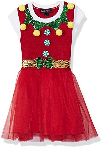 Blizzard Bay Girls' Big Cap Sleeve Crew Neck Elf Dress, Christmas red Combo S-7/8 ()