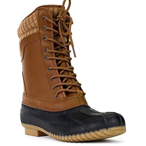 RF ROOM OF FASHION Women's Fleece Lined Waterproof Snow Rain Duck Boots Black Cognac SIZE6
