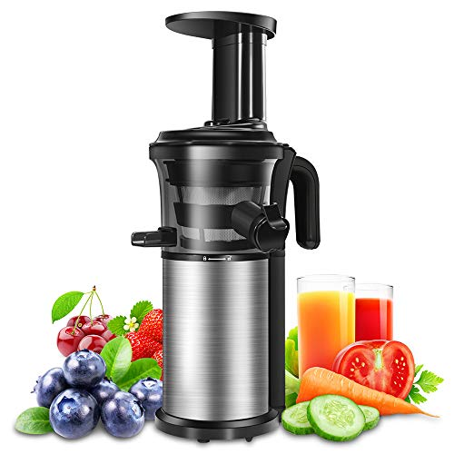 Slow Juicer, Sagnart Juicer Machine for Vegetables & Fruits, Easy to Clean, Portable Vertical Cold Press Juicer with Reversal Function, Masticating Juicer with Juice Jug and Brush. BPA-free