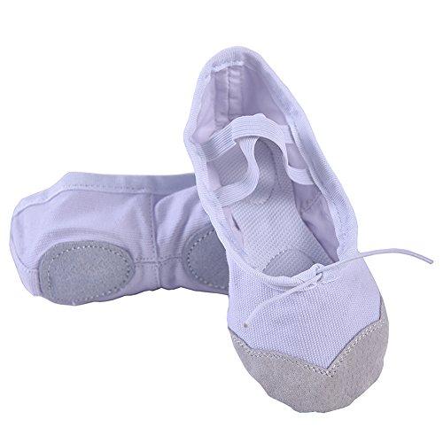 Yyxr Kvinners Klassiske Lerret Split-sole Ballett Tøfler Danse Gymnastikk  Yoga Sko Flats Hvit