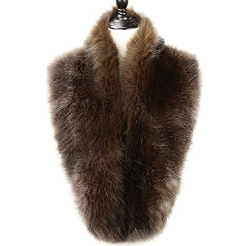 Dikoaina Extra Large Women's Faux Fur Collar for Winter Coat (120cm, -