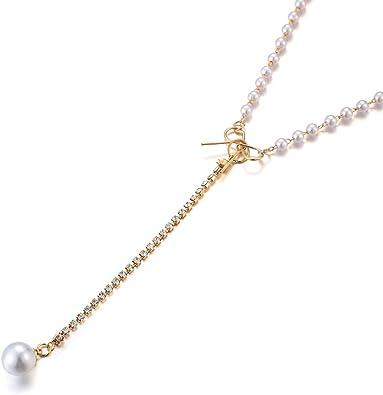 Mode einfache Bogen Perle Anhänger Halskette Schlüsselbein